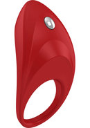 Ovo B7 Silicone Cock Ring Waterproof Red And Chrome