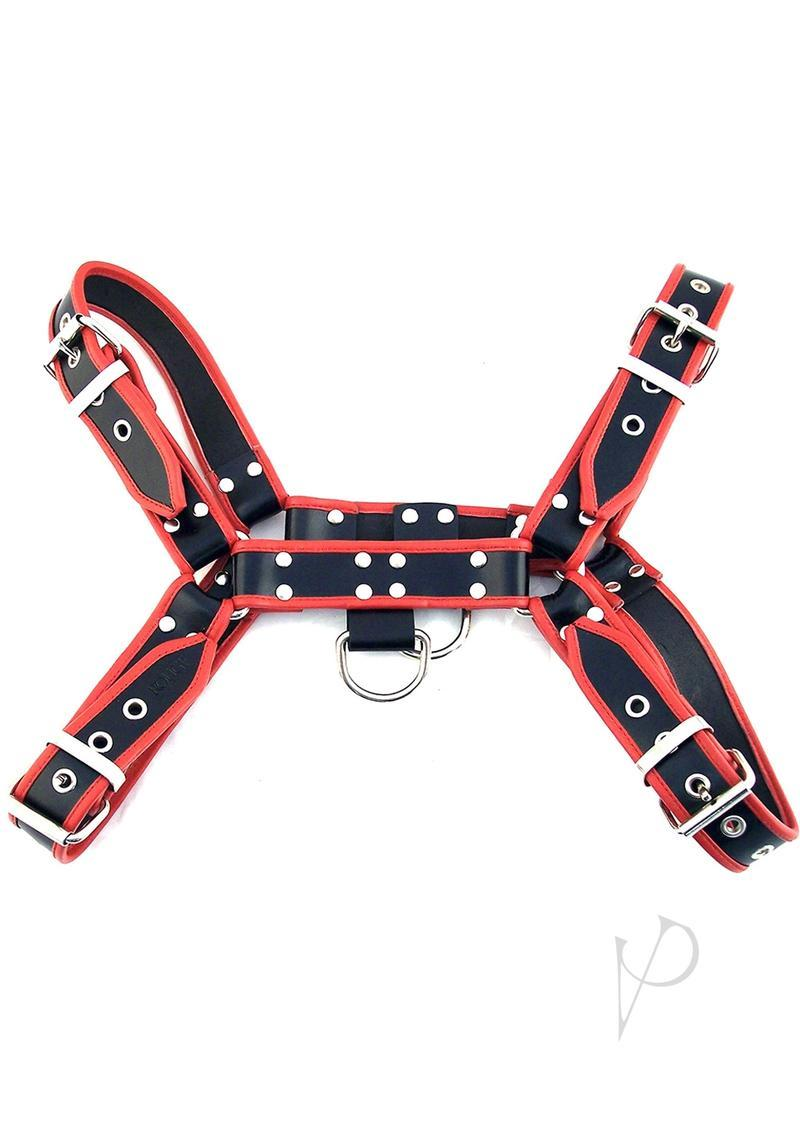 Rouge Ot Front Leather Harness Black And Red M