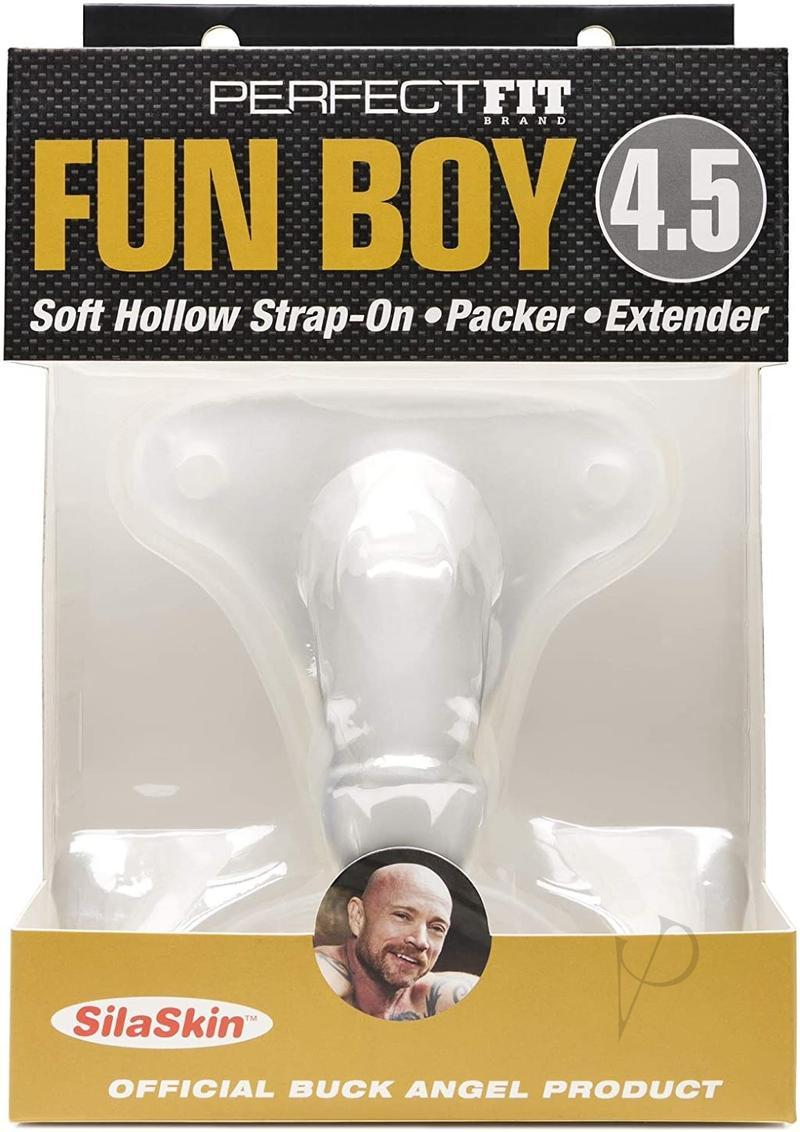 Perfect Fit Fun Boy Buck Angel Soft Hollow Strap On Clear 4.5 Inch