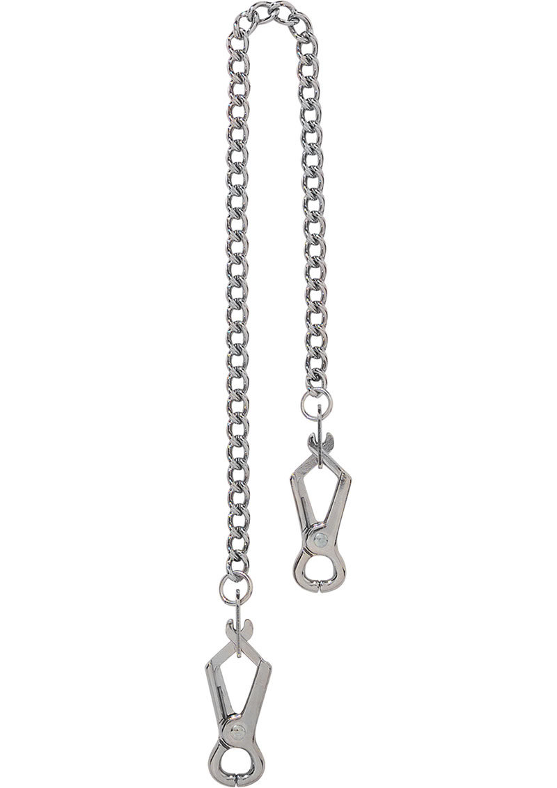 Endurance Pierced Nipple Clamps With Link Chain Silver